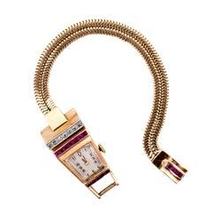 Retro Diamond Ruby Rose Gold Platinum Geometric Ladies Wristwatch