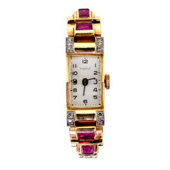 Retro Diamond Synthetic Ruby Rose and Yellow Gold Ladies Wristwatch, circa 1940