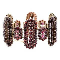Outstanding Vintage Garnet and Gilt Hinged Wide Flexible Bracelet