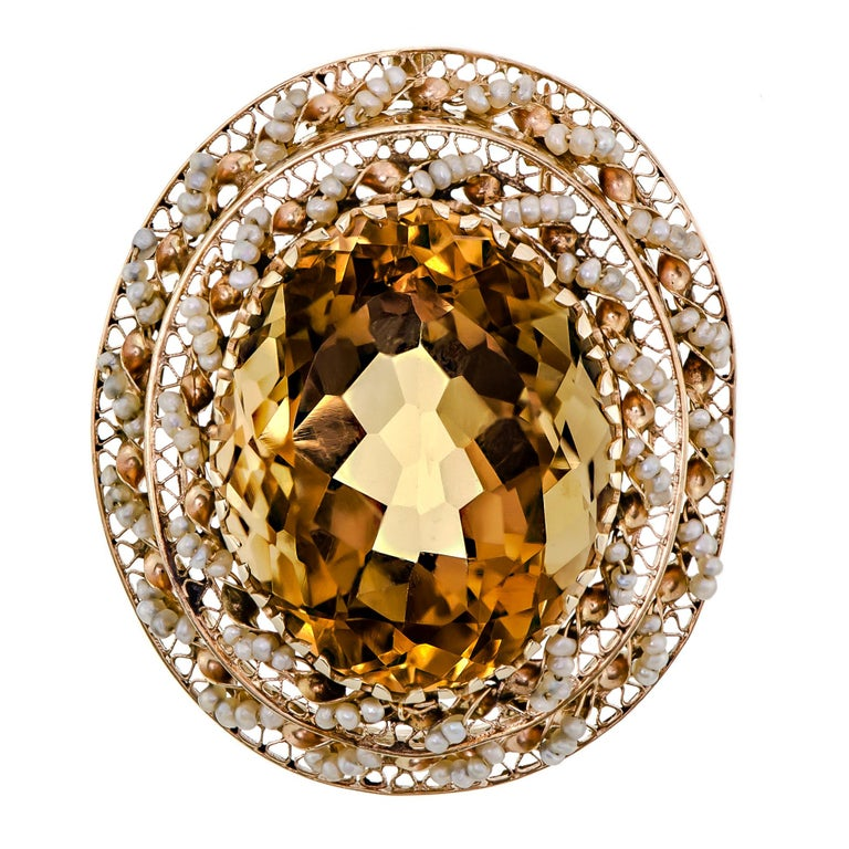 Impressive Large 14 Karat Yellow Gold, Citrine and Seed Pearl Pendant/Brooch For Sale