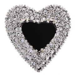 Dazzling 14 Karat White Gold, Onyx and Diamond Heart-Shaped Cocktail Ring