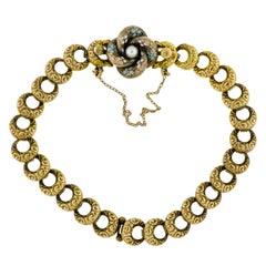 Wonderful Turn-of-the-Century Krementz Love Knot Blue Enamel Pearl YG Bracelet