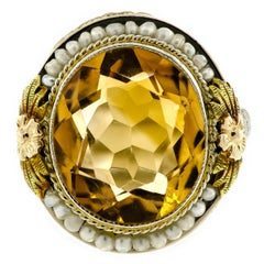 Lovely Art Deco Citrine Seed Pearl White and Yellow Gold Filigree Ring