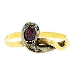Attractive Antique Garnet Diamond Silver Topped Yellow Gold Coiled Snake Ring