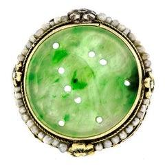 Art Deco Jadeite Seed Pearl 14 Karat Yellow Gold Ring