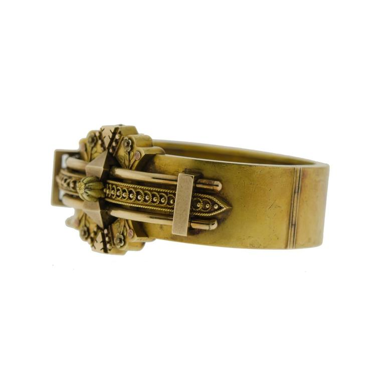 Victorian wide 14 kt yellow gold hinged bangle bracelet - Etruscan design applied goldwork - engraved and applied gold foliates and dotwork - gold safety chain