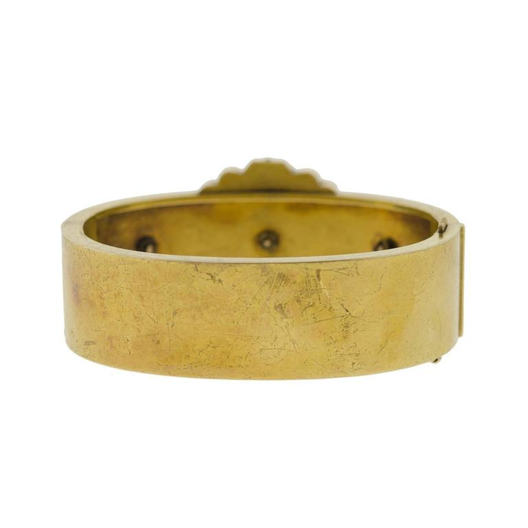 Wide Victorian Etruscan Gold Bangle Bracelet In Good Condition For Sale In Lombard, IL