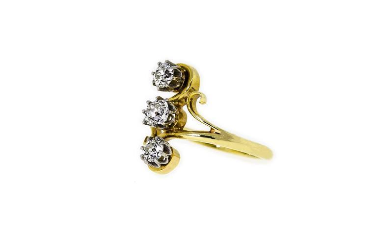 Old European Cut  Delightful Art Nouveau Diamond  18K Yellow Gold Ring For Sale