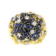 Fantastic Mid-Century Sapphire Diamond and 18K Gold Cluster Dome Cocktail Ring