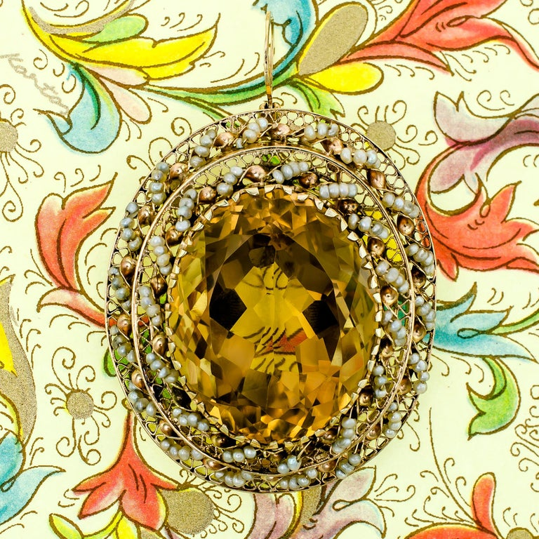 Impressive Large 14 Karat Yellow Gold, Citrine and Seed Pearl Pendant/Brooch For Sale 3
