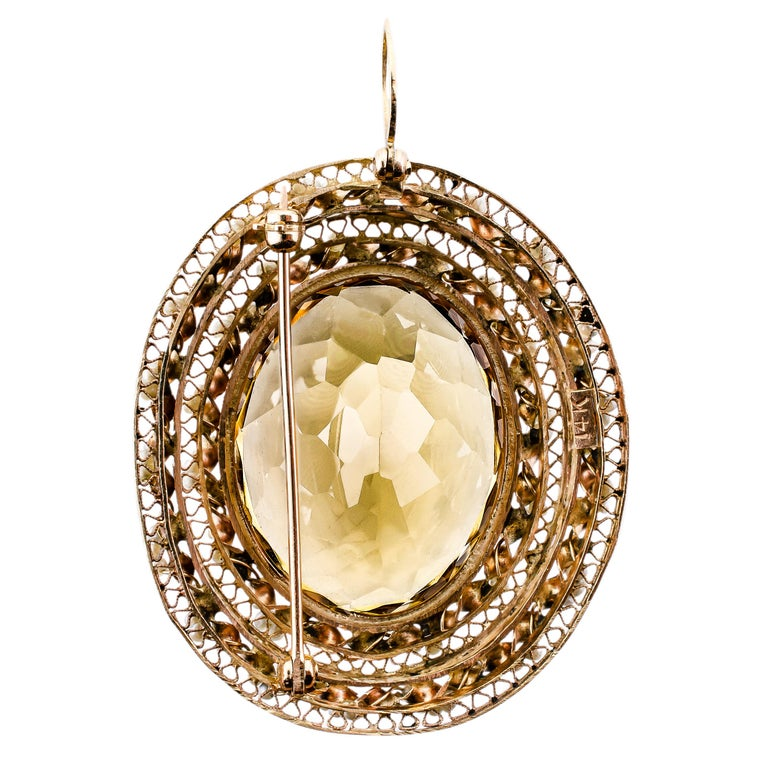 Impressive Large 14 Karat Yellow Gold, Citrine and Seed Pearl Pendant/Brooch In Good Condition For Sale In Lombard, IL