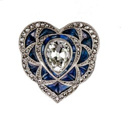 Alluring Art Deco Diamond and Sapphire Heart Ring