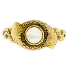 Rare Antique Moonstone Double Snake 14 Karat Yellow Gold Ring