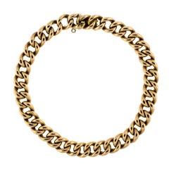 English 9 Carat Yellow Gold Curb Link Bracelet, circa 1900