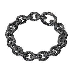 Renesim Pave Brilliant Black Diamond Gold Broad Link Bracelet