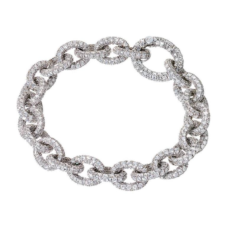 Renesim Pave Brilliant Broad Link Diamond Bracelet