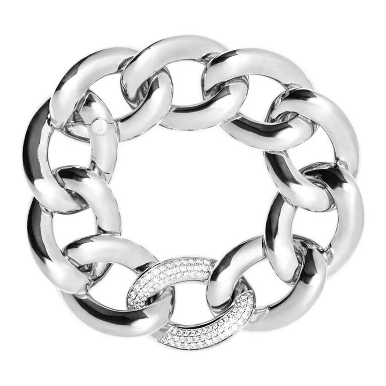 Renesim Pave Diamond Gold Broad Link Chain Bracelet