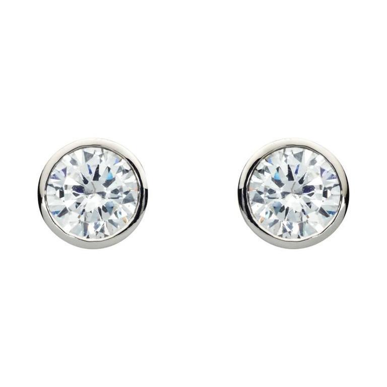 Renesim 1 Carat Bezel Set Diamond Gold Stud Earrings