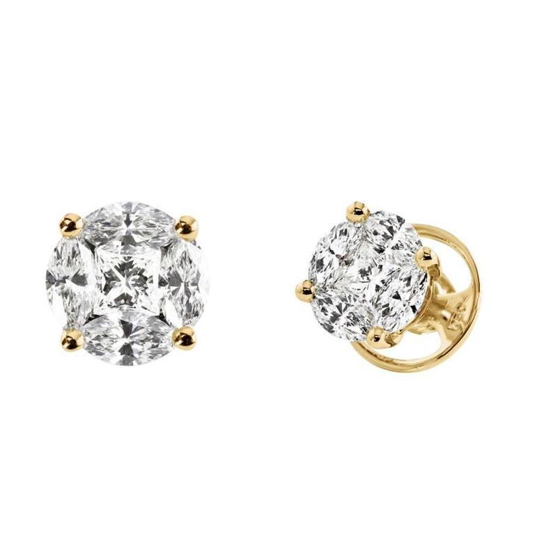Renesim Princess and Navette Cut Diamond Gold Stud Earrings