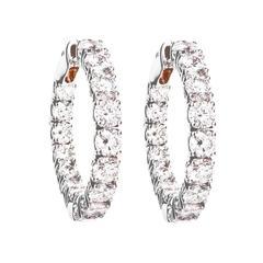 Renesim Gold Hoop Earrings with 32 Brilliant Cut Diamonds