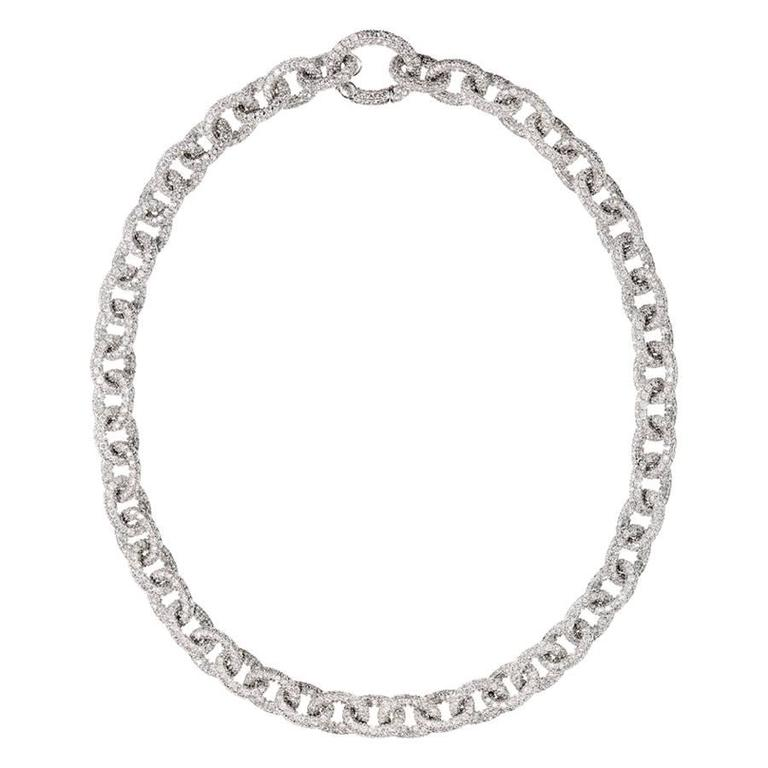 Renesim Pave Diamond Gold Link Chain Necklace 1