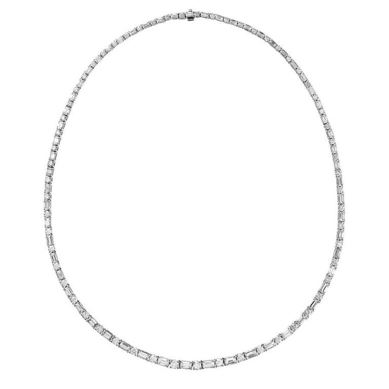 Renesim 16.6 Carats Emerald Cut Diamond Gold Collier Necklace 1