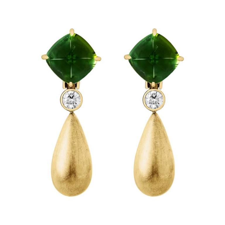 Renesim Green Tourmaline Diamond Gold Drop Earrings