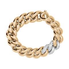 Renesim Pave Diamond Two Color Gold Link Chain Bracelet