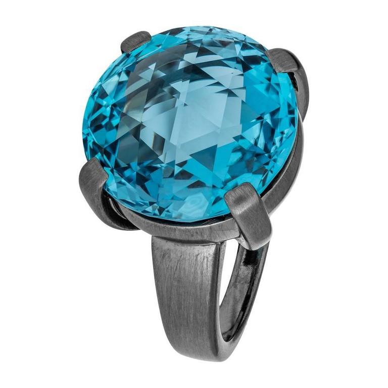 Renesim Blue Topaz Matted Rhodium Plated White Gold Round Ring