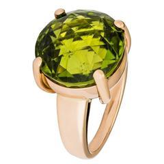 Renesim Rubelite Peridot Rose Gold Round Ring