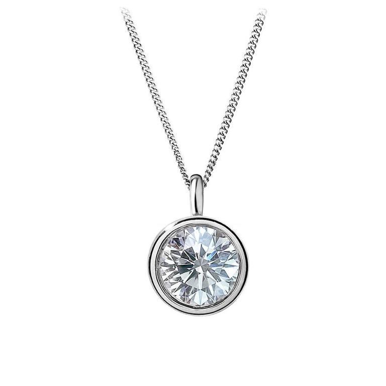 Renesim 1.17 Carat Diamond White Gold Pendant For Sale