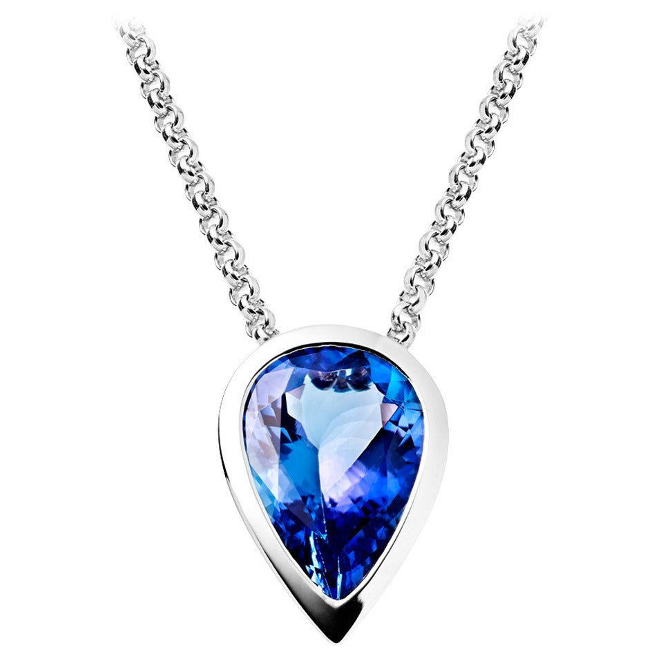 Tanzanite Necklace Tanzanite: RENESIM Tanzanite White Gold Pendant For Sale At 1stdibs