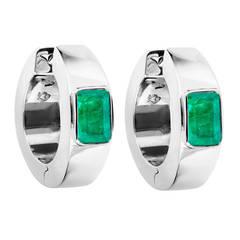 Renesim Emerald White Gold Hoop Earrings