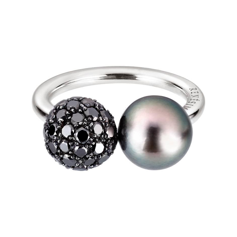Renesim Collection tahitian pearl black diamond pave sphere ring For Sale at