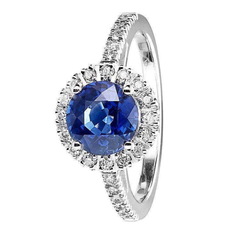 RENESIM Elegant Sapphire Ring in Halo Setting with Brilliants For Sale