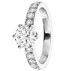 Renesim 1.00 Carat Round Brilliant Cut Diamond Pave Platinum Engagement Ring