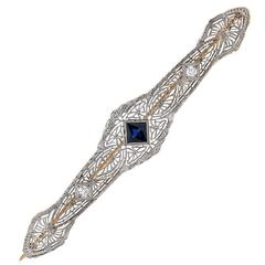 Blue Sapphire Diamond Two-Color Gold Brooch