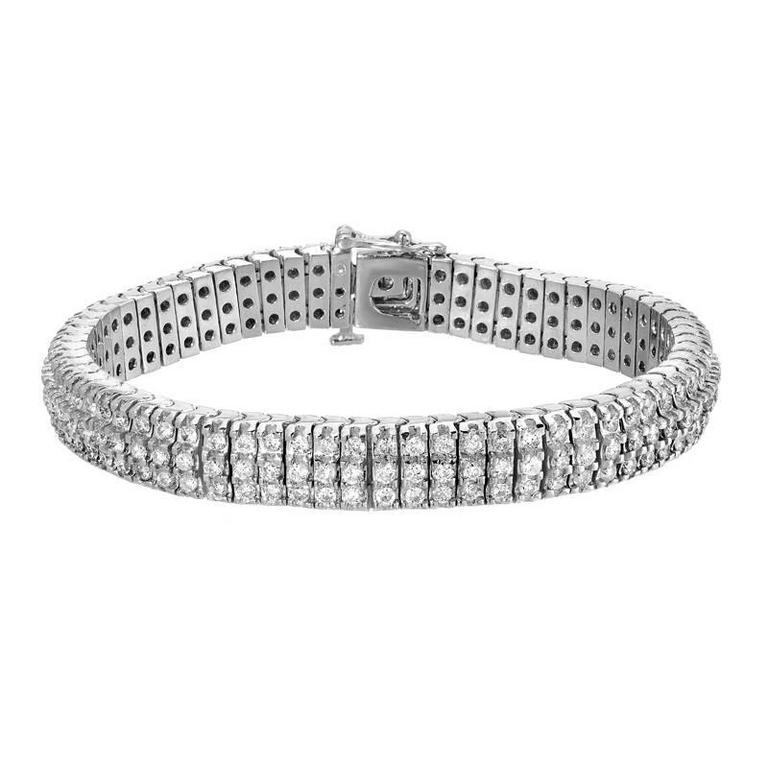 Diamond Three-Row Gold Tennis Bracelet