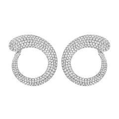 Diamond Pavé Gold Spiral Earrings