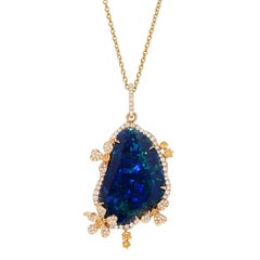 Australian Black Opal Diamond Gold Pendant