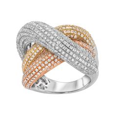 Diamond Pavé Three Band Tri-Color Gold Ring