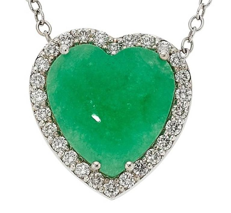 Jadeite Jade Diamond Gold Heart Pendant  For Sale