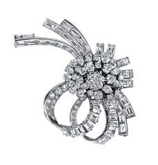 Estate Diamond Platinum Brooch and Pendant