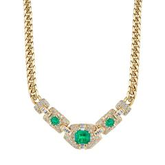 Emerald Diamond Gold Necklace