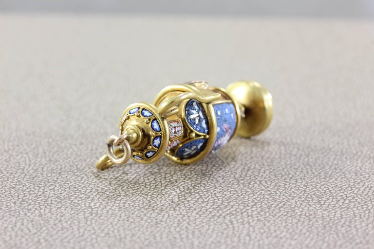 Victorian Micro Mosaic Gold Vase Pendant For Sale 2