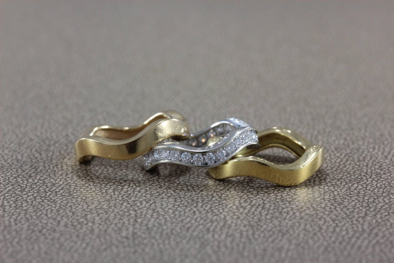 Cartier Diamond Gold Stackable Trinity Band Ring Set In Excellent Condition For Sale In Beverly Hills, CA