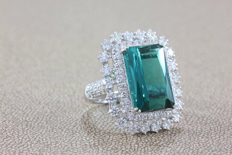 Gia Certified Gem Green Blue Tourmaline Diamond Gold