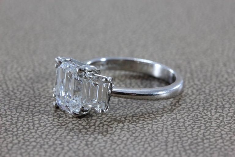 Women's 2.28 Carat Diamond Emerald Cut E/VVS Platinum Engagement Ring For Sale