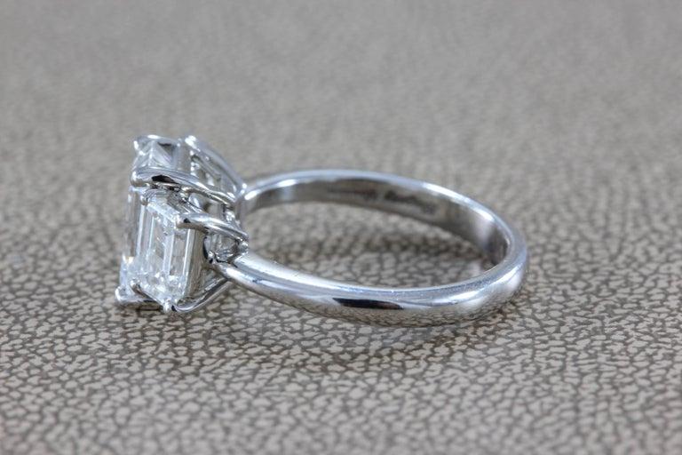 2.28 Carat Diamond Emerald Cut E/VVS Platinum Engagement Ring For Sale 1