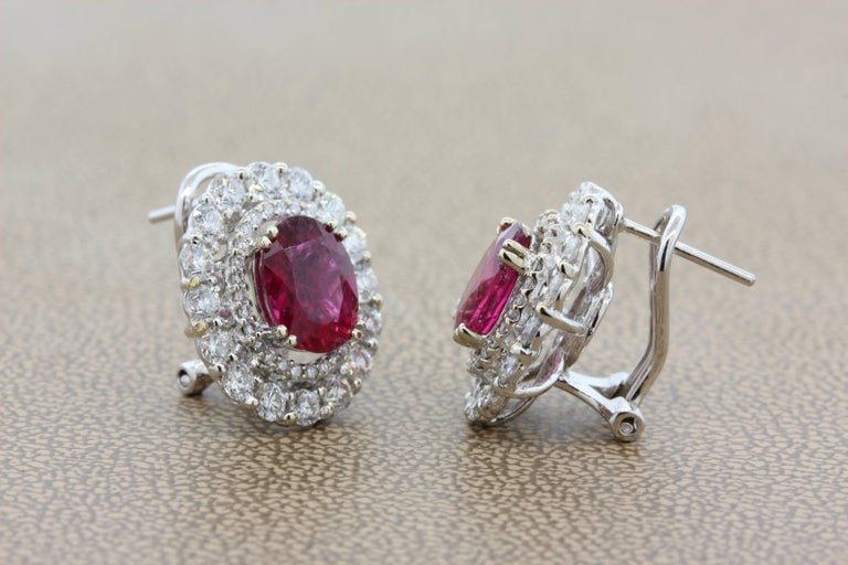 Oval Cut Rubelite Tourmaline Diamond Gold Earrings For Sale